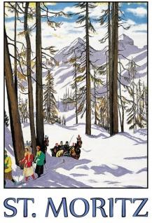St.Moritz Alpen Schweiz Winterurlaub Schnee Blechschild