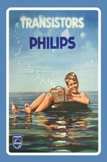 Philips transistor radio reklame mit junge blechschild