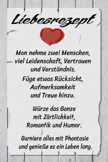 Blechschild Lieberezept: 2 Menschen viel Leidenschaft, ...Metallschild Wanddeko 20x30 cm tin sign tin sign