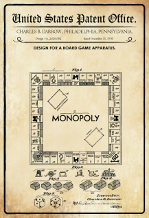 US Patent Office - Design for A Board Game Apparatus - Entwurf für einen Brett Spiel - Darrow, Pennsylvania 1935 - Design No 2.026.082 - Blechschild