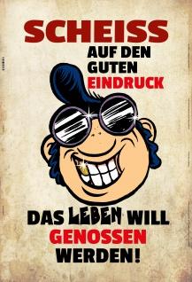 Scheiss Auf Den Guten Eindruck?.blechschild lustig spruchschild comic