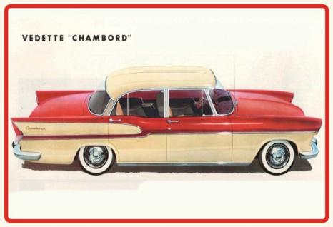 Vedette Chambord auto car oldtimer blechschild