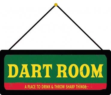 Schatzmix Blechschild Spruch Dart Room retro Metallschild 27x10 cm Wanddeko mit Kordel
