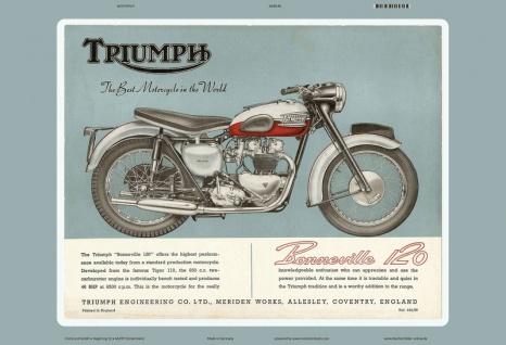 Triumph Bonneville 120 reklame motorrad blechschild