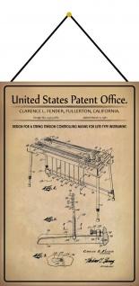 Blechschild Patent Entwurf Saitenspannungs - Steuermittel Deko 20 x 30 m.Kordel