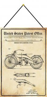 Blechschild Patent Entwurf für ein Motorrad Metallschild Deko 20 x 30 m.Kordel