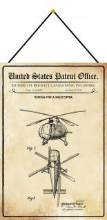 Blechschild Patent Entwurf Helikopter Metallschild Deko 20 x 30 m.Kordel
