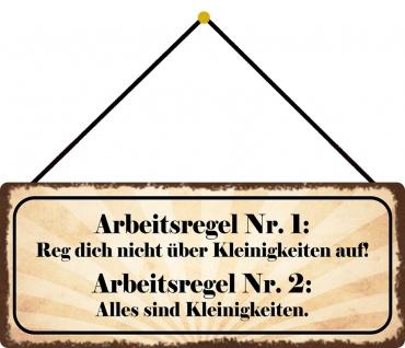 Schatzmix Blechschild Spruch Arbeitsregel NR. 1 & NR.2 Metallschild 27x10 Deko mit Kordel