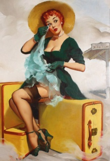 Nostalgie Pin up sexy Frau mit Koffer Blechschild