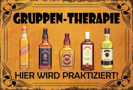 Blechschild Gruppen-Therapie (Spirituosen) Metallschild Wanddeko 20x30cm tin sign