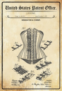 US Patent Office - Design for a Corset - Entwurf für eine Korsette - Stone, 1890 - Design No 442.552 - Blechschild