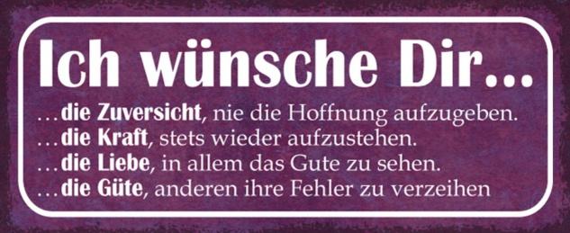 Blechschild Spruch Ich wünsche Dir Liebe Metallschild 27x10 cm Wanddeko tin sign