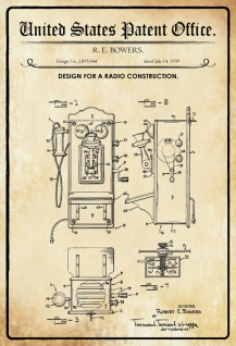 US Patent Office - Design for A Radio Construction - Entwurf für ein Radio - Bowers, 1959 - Design No 2.895.044 - Blechschild