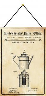 Blechschild Patent Entwurf für eine Kaffeemachine Metallschild 20 x 30 m.Kordel