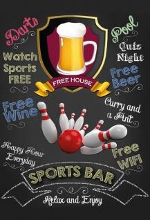 Sports Bar - relax ans enjoy (Bowling) Blechschild 20x30 cm