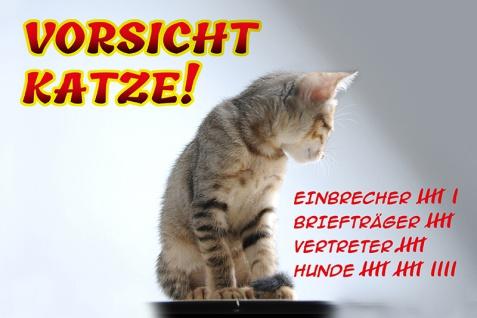 """"""" Vorsicht Katze"""" blechschild, lustig, comic, metallschild"""