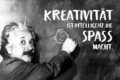 Blechschild Spruch Kreativität ist Intelligenz Einstein Metallschild Wanddeko 20x30 cm tin sign