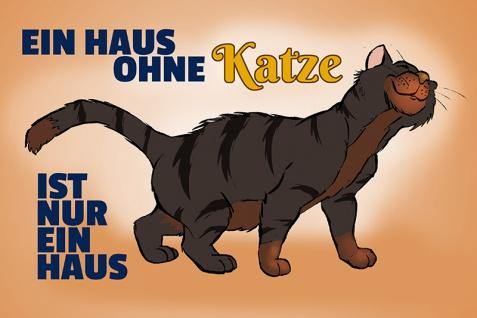 """"""" Ein haus ohne katze?."""" blechschild, lustig, comic, metallschild"""