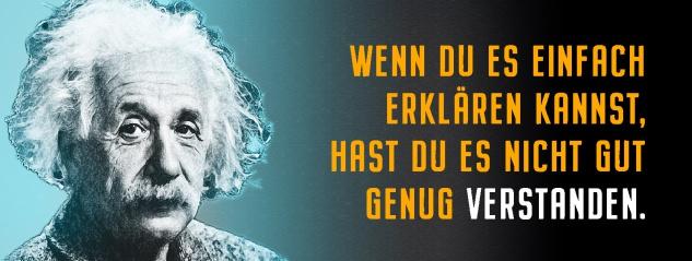 Blechschild Einstein: Einfach erklären Metallschild Wanddeko 27x10 cm tin sign