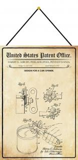 Blechschild Patent Entwurf für einen Dosenöffner Metallschild 20 x 30 m.Kordel