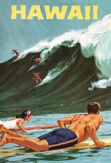 Nostalgie: Hawaii (Surfen, Meer) Blechschild 20x30 cm