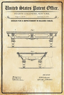 US Patent Office - Design for an Improvement in Billiard Tables - Entwurf für einen Verbesserung der Billardtische - Collender - 1872 - Design No 145787 - Blechschild