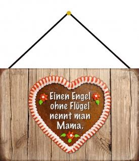 Blechschild Spruch Engel Flügel Mama Herz Metallschild Wanddeko 20x30 m. Kordel