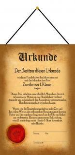 Blechschild Urkunde Zweibeiner 1. Klasse Metallschild Wanddeko 20x30 mit Kordel