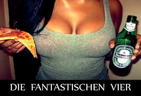 Blechschild Spruch Die fantastischen Vier Bier Metallschild Wanddeko 20x30 cm tin sign