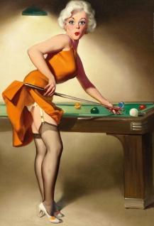 Nostalgie Pin up sexy Frau am Billiard Tisch Blechschild 20x30cm
