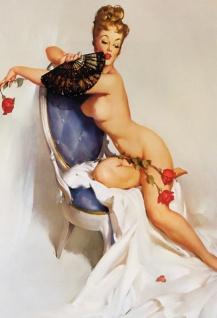 Nostalgie Pin up sexy Frau mit Fächer Blechschild 20x30 cm