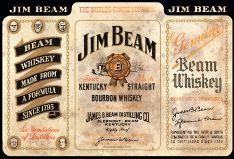 Jim Beam Whiskey Kentucky straight Bourbon 1795 flasche etikett alkohol blechschild