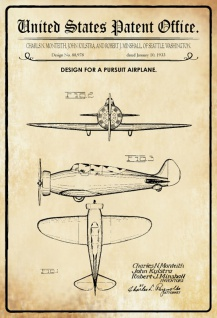 US Patent Office - Design for a Pursuit Plane- entwurf für ein Verfolgungsflugzeug - Monteith/Kylstra/Minshall Seattle 1933 - Design No 88.978 - Blechschild