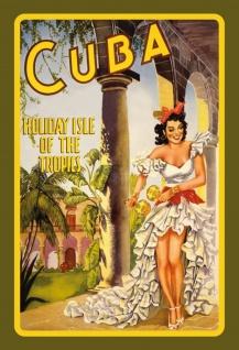 Nostalgie: Cuba Holiday Isle (Cubanerin) Blechschild 20x30 cm