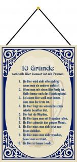 Blechschild Spruch 10 Gründe weshalb Bier Metallschild Wanddeko 20x30 m. Kordel