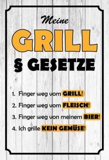 Blechschild Spruch Meine Grill § Gesetze Metallschild 20x30 Deko tin sign