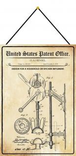 Blechschild Patent Entwurf für ein Küchengerät Metallschild 20 x 30 m.Kordel