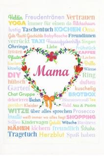 Blechschild Spruch Mama Herz weißes Metallschild 20x30cm Wanddeko tin sign
