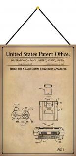 Blechschild Patent Entwurf Spielsignal-Vorrichtung Metallschild 20 x 30 m.Kordel