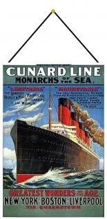 Blechschild Schiff Cunard Line Monarchs of the Sea Metallschild 20x30 mit Kordel