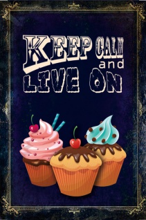 Blechschild Keep Calm & Live on (Cupcake) Retro Metall Deko 20x30cm tin sign