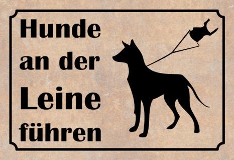 Hinweisschild: Hunde an der Leine führen Metallschild 20x30 Deko tin sign