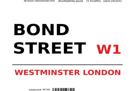 London Street Sign blechschild Bond Street Westminster W1 - white