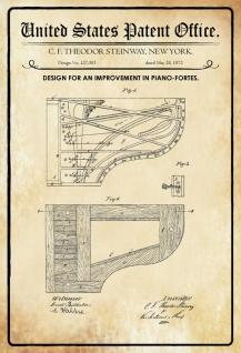 US Patent Office - Design for an Improvement in Pianofortes - Entwurf für eine verbesserung des Klavier - Steinway - 1872 - Design No 127383 - Blechschild