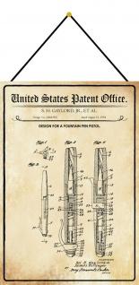 Blechschild Patent Entwurf für einen Füllfederhalter Deko 20 x 30 m.Kordel