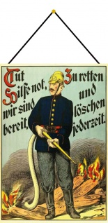 Blechschild Feuerwehr Nostalgie Mann Retten Metallschild Deko 20x30 mit Kordel
