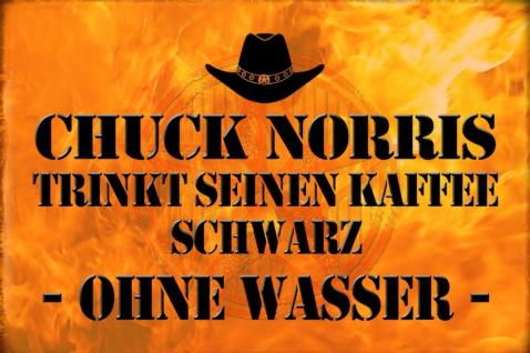 Blechschild Spruch: Chuck Norris trinkt Kaffee Metallschild Wanddeko 20x30 cm tin sign