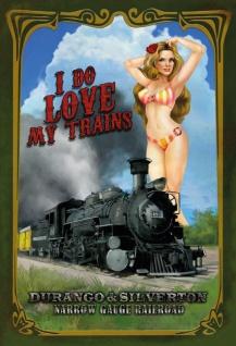 Pinup / pin up sexy frau erotik i do Love trains narrow gauge railroad Lok Zug bahn blechschild