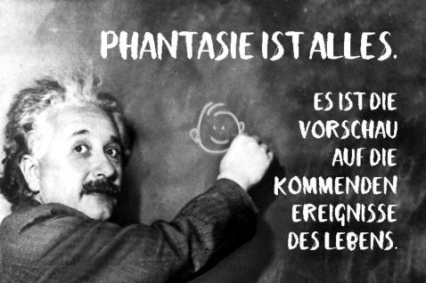 Blechschild Spruch Phantasie ist alles Einstein Metallschild Wanddeko 20x30 cm tin sign