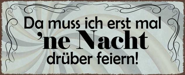Blechschild Spruch Da muss ich erst mal 'ne Nacht drüber feiern Metallschild Wanddeko 27x10 cm tin sign